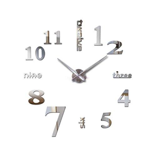 NYSCJJJ Reloj de Pared sin Marco Reloj de Pared Grande Diseño 3D Reloj Mute Reloj de Pared DIY (Color : Gold)