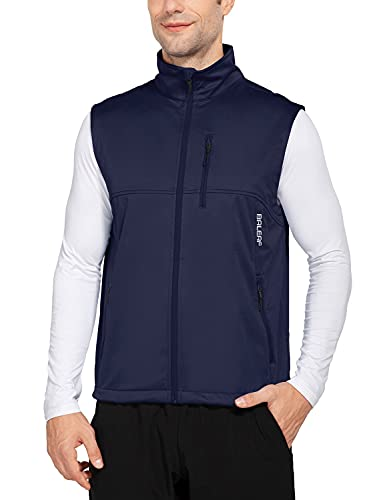 BALEAF Men's Lightweight Golf Vest with 6 Pockets Windproof Sleeveless Cycling Jacket for Hiking Running Blue Size L