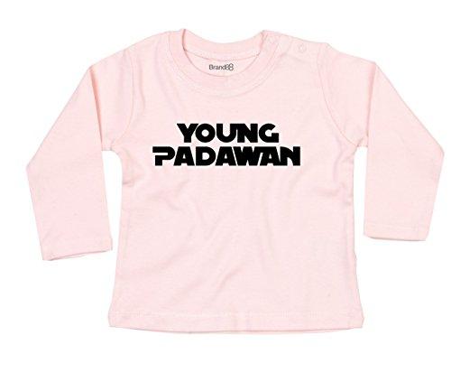 Brand88 Young Padawan, Langarm-Baby-T-Shirt, Hell Rosa/Schwarz, 3-6 Monate