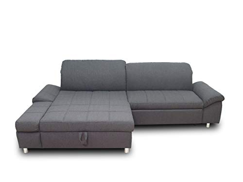 Domo Collection Mika Ecksofa | Schlaffunktion Bettkasten & Funktionen | L-Form 260x178x80 | Sofa Schlafsofa anthrazit