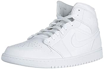 Jordan Mens Air Jordan 1 Mid Leather Synthetic White Trainers 10.5 US