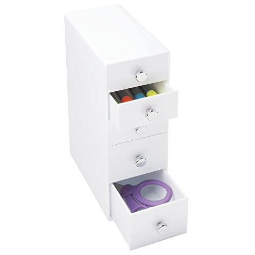 mDesign Organizador con cajones – Color: blanco – Ideal organizador para bolígrafos de escritorio con 3 cajones pequeños y 2 grandes – Práctico accesorio para conseguir el orden en el escritorio