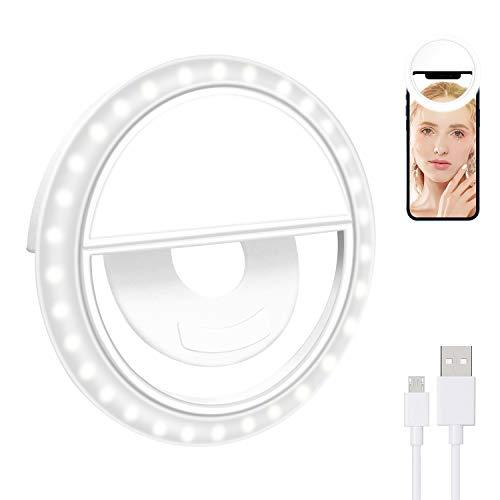 Selfie Licht BISOZER Selfie Ring Licht mit 3 Farben Einstellbare Ringlicht für Handy USB Wiederaufladbare LED Ringlicht für Make-up Selfie YouTube-Video Tiktok und Instagram