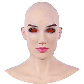 Soft Silicone Realistic Female Head Mask Hand-made Face for Crossdresser Transgender Halloween Costumes 5G