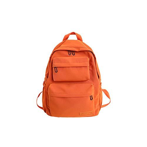 TTZZ Nueva Mochila de Nylon Impermeable para Mujeres Mochilas de Viaje de Bolsillo Múltiples Mochila Escolar para Adolescentes Libro Naranja 39 * 32 * 13 CM