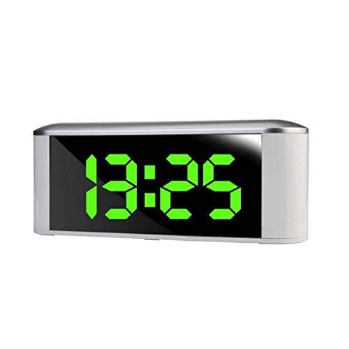 Fengyuanhong Reloj Despertador multifunción Reloj electrónico Digital 12H 24H Pantalla LED de Alarma Decoración Espejo con Temperatura