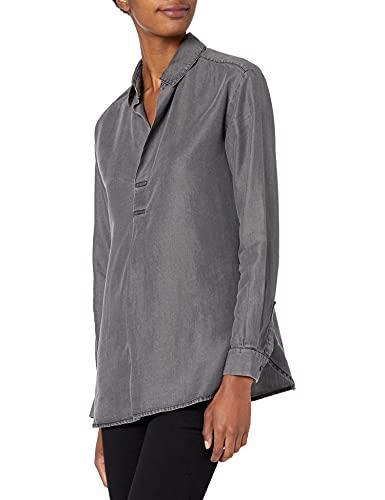 Amazon Brand - Daily Ritual Women's Tencel Henley Shirt, Washed Black , Large