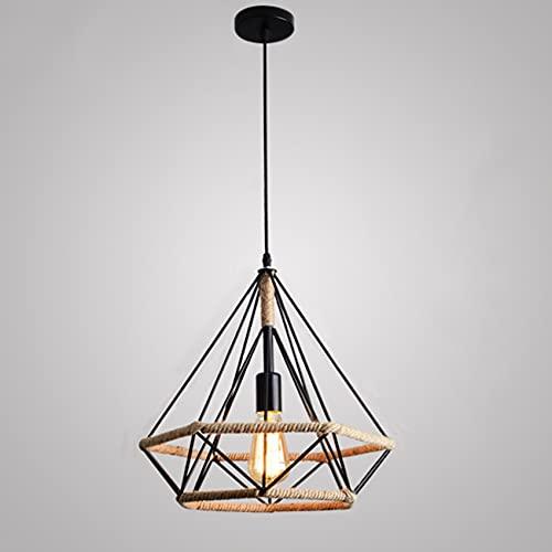Lámpara Colgante Vintage,Luz de Techo Retro,Iluminación Suspensión Industrial Cuerda de Cáñamo Loft...