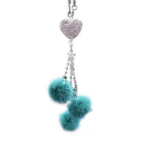 Hidyliu Espejo de coche accesorios colgantes hechos a mano espejo retrovisor cristal artesanía regalo accesorios interior diamante corazón azul bola peluda adorno decorativo para mujeres dormitorio