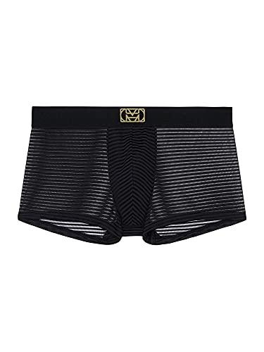 HOM Loulou Trunk sous-vêtement, Rayure Semi Transparente Noire, M Homme