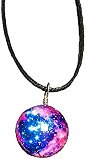Summer Love Dreamy Starry Nebula Space Galaxy Universe Necklace Glass Ball Pendant Necklaces Women Girls Gift