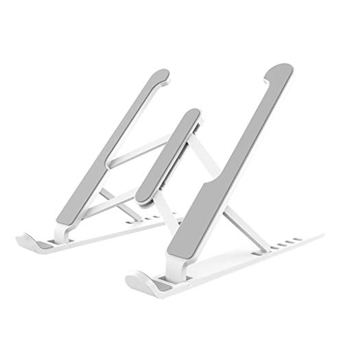 "Laptop Stand Adjustable Ventilated Laptop Stand Foldable Ergonomic Aluminum Alloy Laptop Desk Stand, Portable Notebook Stand Mount for Desk, 11-17"" Laptop Stand (Color : White)"