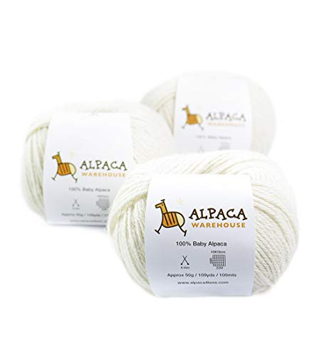 100% Baby Alpaca Yarn Wool Set of 3 Skeins DK Weight - Heavenly Soft and Perfect for Knitting and Crocheting (Ivory, DK)