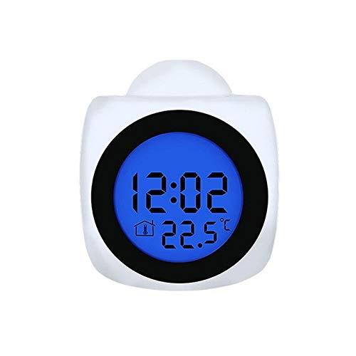 Cfilet Pantalla LCD de Voz Hablar Repetir Temperatura de la Pared de Techo LED Reloj de proyección de múltiples Funciones del Despertador de la proyección Digital (Color : A)