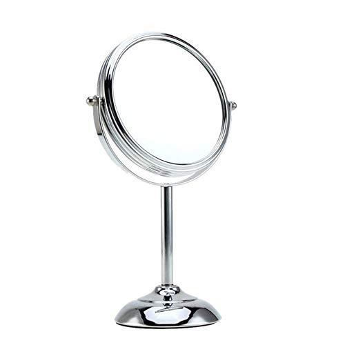 WBFN Miroirs de maquillage, 6inch Miroir de maquillage lumineux en forme ronde Double Faces à pied 10x Grossissement (Color : Silver)