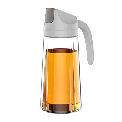 Pilika Botella de aceite, vinagre, jarra de cristal con tapa protectora automática de 630 ml, color gris