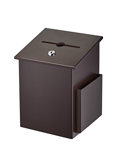 AdirOffice Square Wood Suggestion Box - Wall Mountable - with Lock & Chained Pen - Donation, Collection, Ballot, Key Drop, (Mahogany)