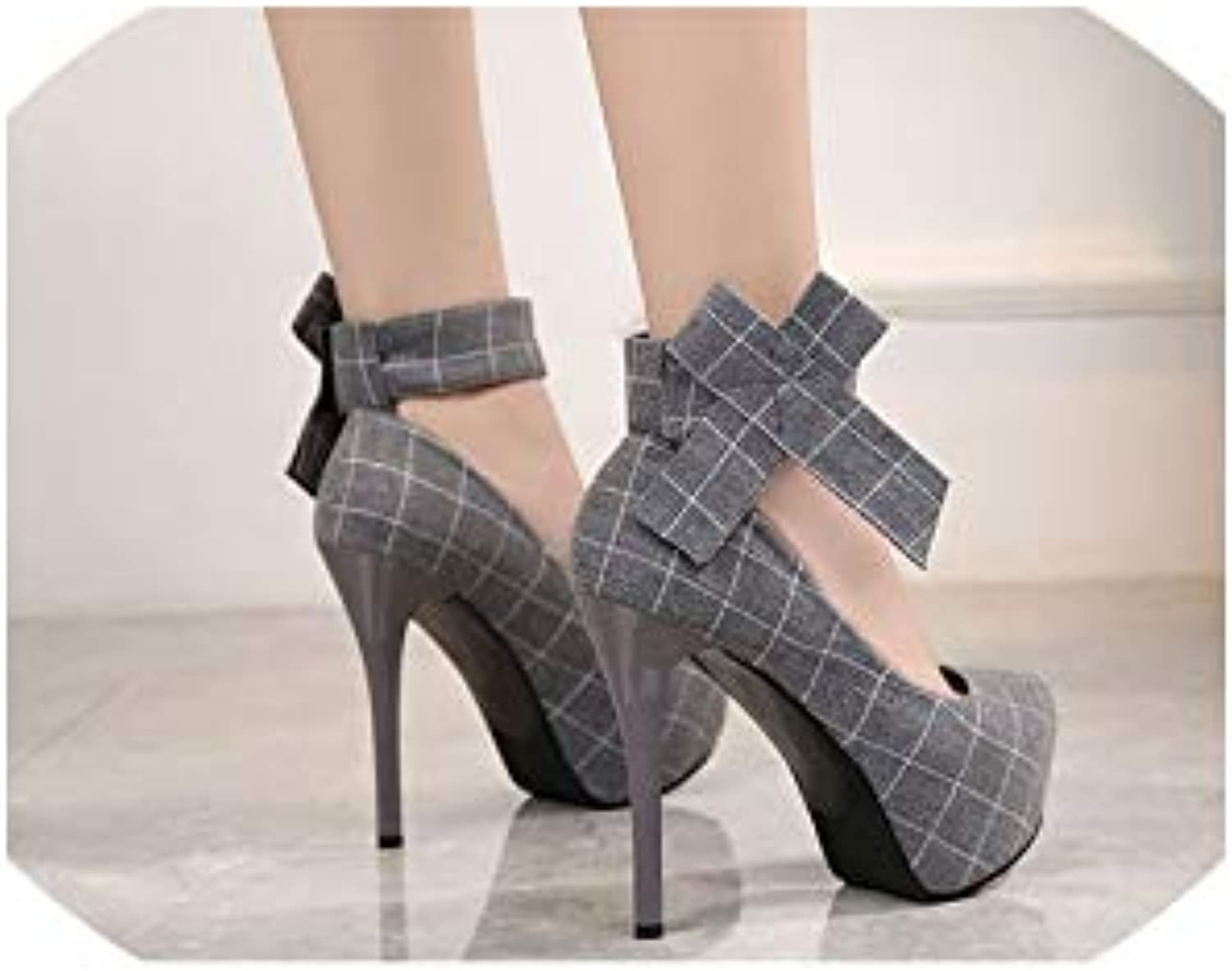 Round Head Waterproof Table High Heel shoes Square shoes Square Feet and Bow Tie