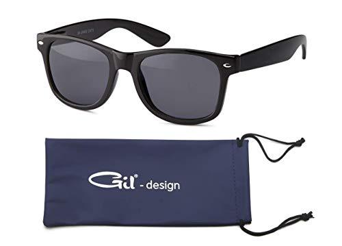 GIL-Design Qualitative Nerd und Retro Vintage Unisex Sonnenbrille von Gil - Matt oder glänzend Klassik Design - Verspiegelt UV400 CE Kat 3 + Brillenbeutel (Schwarz (Bügel Glänzend))