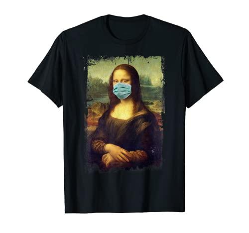Mona Lisa Con Máscara Gracioso Cuadro Famoso Cuarentena Camiseta
