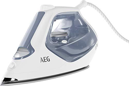 AEG SI7-1-4WB Dampfbügeleisen (2300 Watt, 210g Dampfstoß, 0-35g Dampf/Min., Restwärmeanzeige, dauerhaftes Licht, optimale Einstellungen, XL Wassertank, 2 m Kabel, Anti-Kalk System) blau/weiß