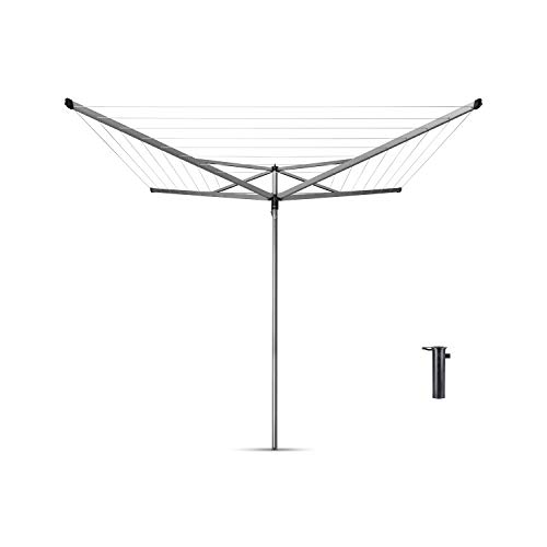 Brabantia Essential Tendedero Exterior Tipo Paraguas, Acero Inoxidable, Gris Metalizado, 50 m de cuerda