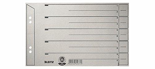LEITZ® Trennblatt, Kraftkarton (RC), 200 g/m², verstärkt, A5 quer, grau (100 Stück), Sie erhalten 1 Packung á 100 Stück
