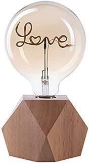 Lampe à Crown LED   Lumière vintage alimentée par batterie   Style rétro Industriel   Couleur : chêne   Portative et légèr...