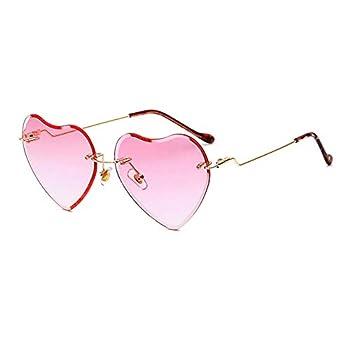 Heart Sunglasses for women Rimless Thin Metal Frame Heart shaped Sun glasses UV400 Pink