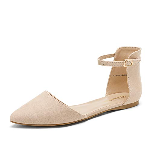 DREAM PAIRS Flapointed-Ankle Women's Casual D'Orsay Pointed Plain Ballet Comfort Soft Slip On Flats Shoes New Nude Suede Size 8.5