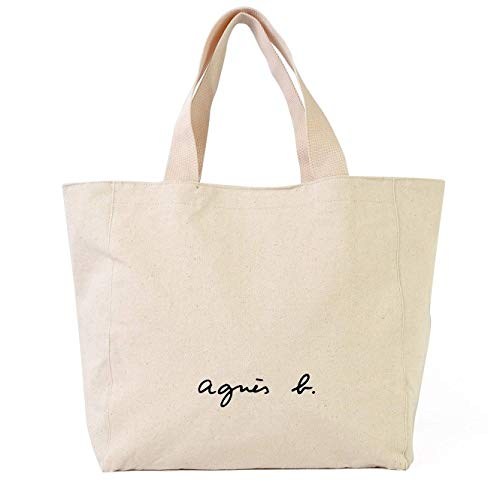 アニエスベー agnes b. トートバッグ TOTO BAG キャンパスバッグ コットン 大容量 男女兼用 無地 (ホワイト) [並行輸入品]