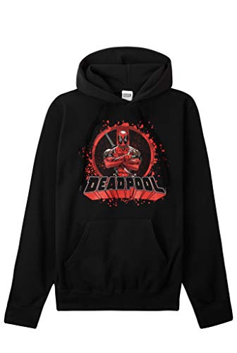 Marvel Deadpool Felpa Uomo, Felpe Uomo con Cappuccio, Bellissima Felpa Ragazzo, Felpe Nere Comode, Abbigliamento Cartoon Originale, Regalo Uomo Nero XL