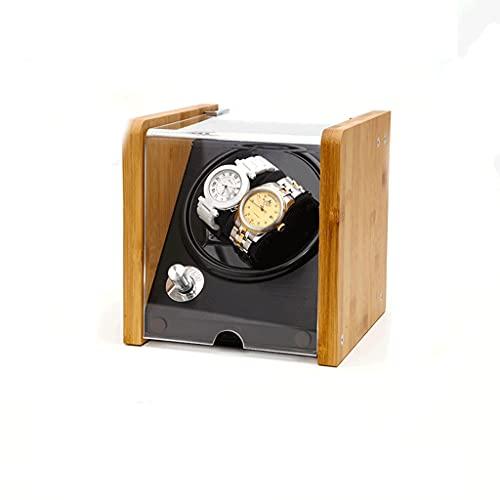 WRNM Bambú Cajas Giratorias para Relojes Almacenamiento Concha Madera Lujo 4 Modos Rotación con Motor Silencioso para 2 Relojes Giratorios Almacenamiento