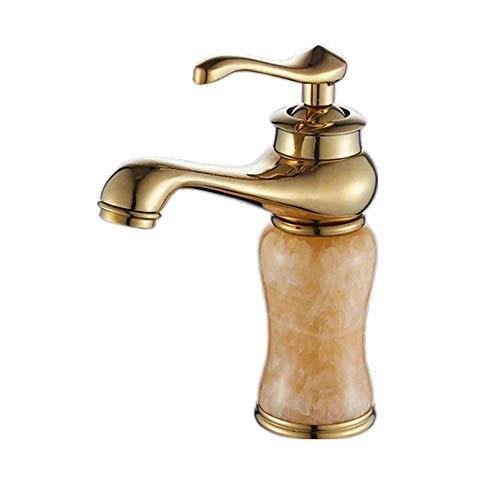 WY-YAN Lámpara Jade Europea Oro del grifo del lavabo de cobre Cuerpo retro bajo el mostrador cuenca caliente y frío individual Gabinete de baño grifo hermoso práctica