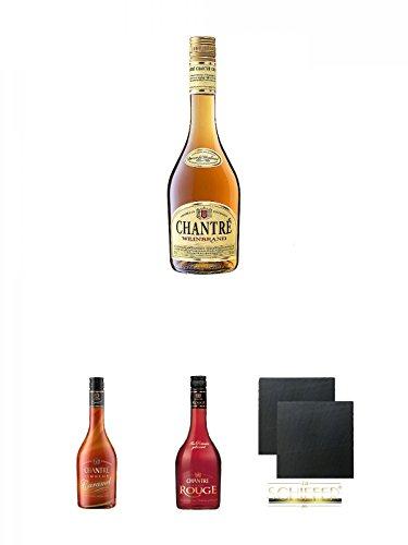 Chantrè deutscher Weinbrand 0,7 Liter + Chantrè CARAMEL 0,7 Liter + Chantrè Cuvee Rouge 0,7 Liter + Schiefer Glasuntersetzer eckig ca. 9,5 cm Ø 2 Stück