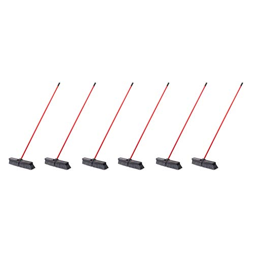 AmazonCommercial 24-inch Push Broom Kit, Heavy-Duty Floor - 6-Pack