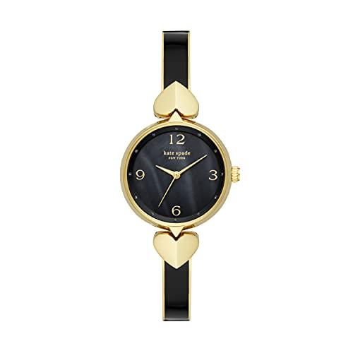 Kate Spade New York Women's Hollis Quartz Stainless Steel Enamel Three-Hand Watch, Color: Gold, Black (Model: KSW1563)
