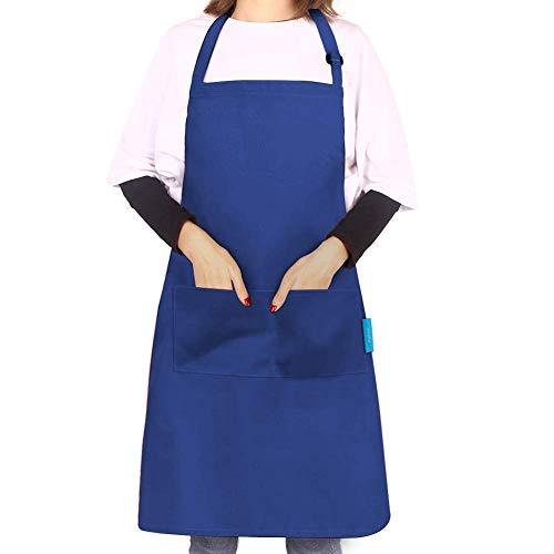 esafio Delantal de Cocina con Tira de Cuello Ajustable y 2 Bolsillos para Hornear Jardinería Restaurante Barbacoa para Hombres y Mujeres (1pcs Marrón)