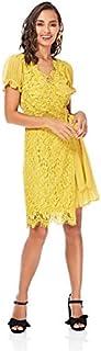 Little Mistress Wrap Dress for Women - Yellow, Size 6 UK