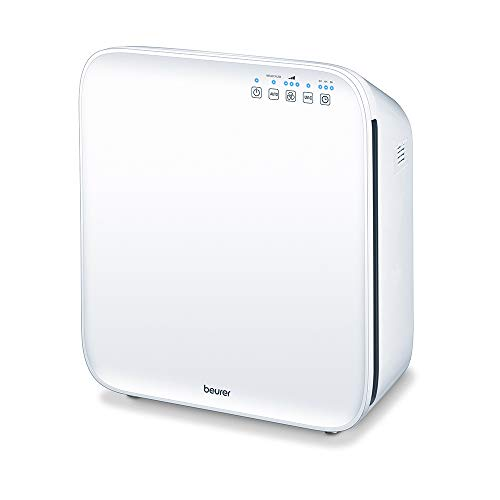 Beurer LR310 Purificador de aire, sistema limpieza filtro 3 capas, hasta 56m2, función temporizador, 3 niveles potencia, luz ultravioleta, 55 W, color blanco