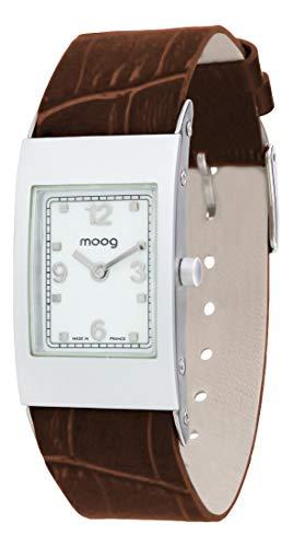 Moog Paris Alu Damen Uhr mit Weißem Zifferblatt, Braunem Armband aus echtem Leder - M00011-407