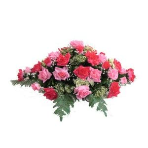 Deluxe Silk Flower Saddle in Pink for Grave-site Presentation in Remembrance of Loved Ones.