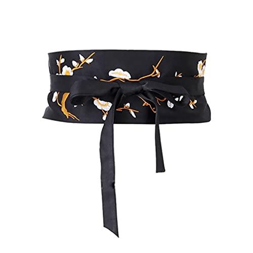 NMJKH Cinturón kimono bordado, suave, floral, elegante, moda, desgaste formal, encaje, accesorios (Color : A, Size : One Size)