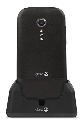 Doro 2404 Téléphone Portable 2G Dual SIM à Clapet Débloqué pour Seniors avec Grandes Touches, Touche d'Assistance et Socle Chargeur Inclus [Version Française] (Noir)