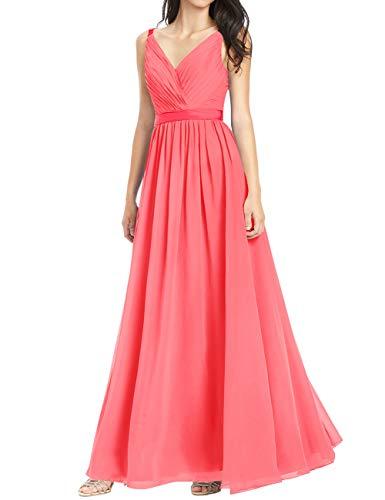 HUINI Brautjungfernkleider Chiffon Abendkleid Ballkleid Lang Damen Standesamt Kleid Partykleid Festkleid Koralle 48