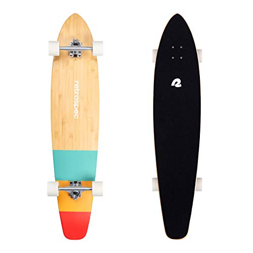 Retrospec Zed Longboard Skateboard Complete Cruiser | Bamboo & Canadian Maple Wood Cruiser w/Reverse Kingpin Trucks for Commuting, Cruising, Carving & Downhill Riding