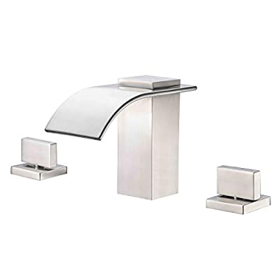Waterfall Widespread Bathroom Faucet Brushed Nickel, 3 Hole 8 Inch Vanity Faucet SUMERAIN