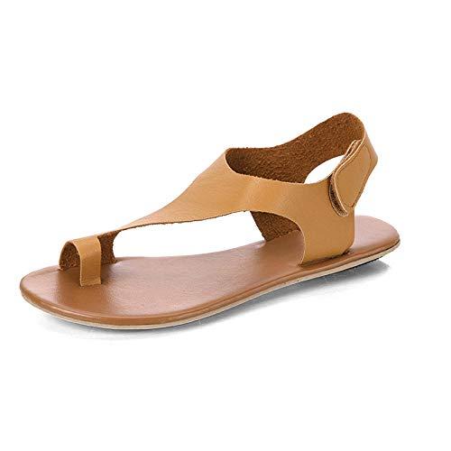 FAYHRH Sandalias de Talón Abierto para Mujer,Sandalias de Mujer de tacón bajo, Velcro Sandalias de Gran tamaño-Khaki_36