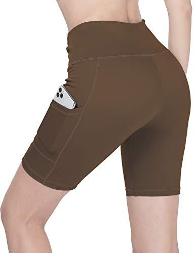 Menore Damen Sportshorts Kurz Leggings High Waist mit Taschen Yoga Shorts Radhose Workout Tummy Control Running Gym Radhose