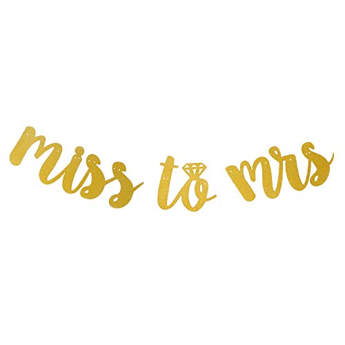 Honbay Glitter Gold Miss to Mrs Banner for Bridal Shower, Engagement Party, Bachelorette Party Decorations (Gold)